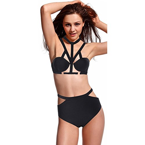Bikini Bottom Swimsuit Bathing Swimwear Beachwear Bandage Push up Bra Vintage (Black,L)