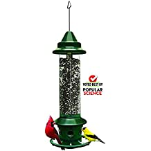 """Squirrel Buster Plus 6""""x6""""x28"""" (w/hanger) Wild Bird Feeder with Cardinal Ring and 6 Feeding Ports, 5.1lb Seed Capacity"""