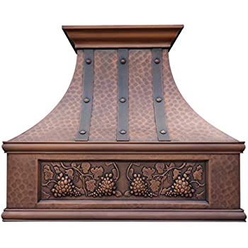 Sinda Copper Range Hood with High Airflow Centrifugal Blower, Includes SUS 304 Liner and Baffle Filter, High CFM Vent Motor, Wall/Island/Ceiling Mount, Width 30,36,42,48 in (W30