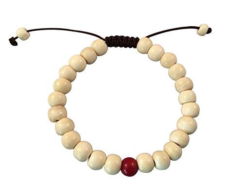 (Tibetan Mala Yak Bone Wrist Mala Bracelet for Meditation (Bone with Coral))