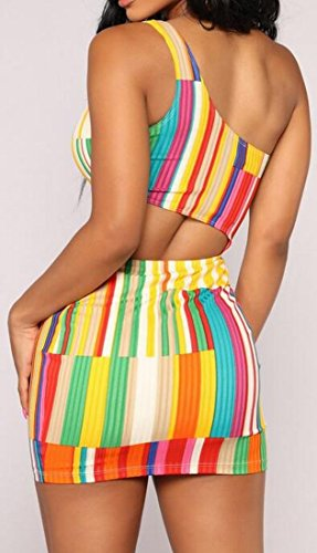 Donne Domple Strisce Spalla Tagliato Sleeveless Sexy Bodycon Mini Abito Clubwear 1