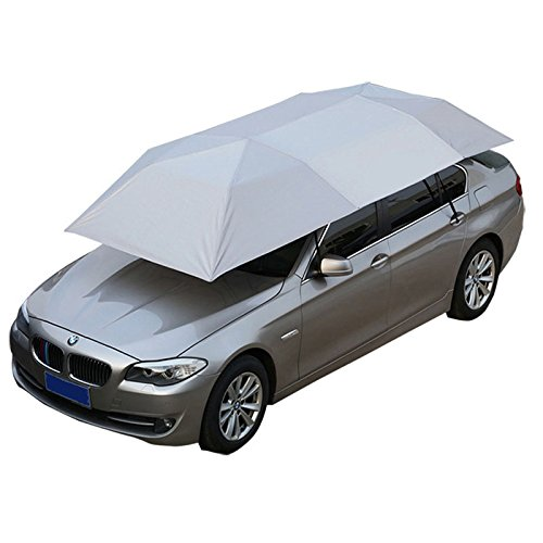 Reliancer Semi-automatic Car Tent Movable Carport Folded Portable Automobile Protection Car Umbrella Sunproof Sun Shade Canopy Cover Universal(157.48''X86.62'') (Silver)
