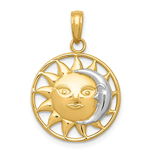 14k Yellow Gold Sun and White Crescent Moon In Dime Size Circle Pendant 25x17mm ()