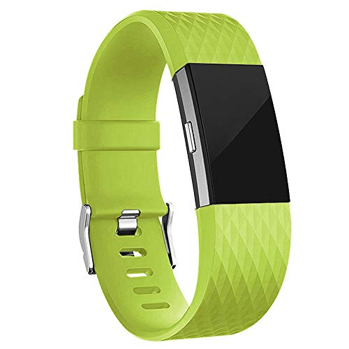 iGK Replacement Bands Compatible for Fitbit Charge 2, Adjustable Replacement Bands with Metal Clasp Special Edition Green Yellow Small (Big Dirty Band)