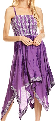 (Sakkas 172056 - Endea Tie Dye Smocked Bodice Hi-Low Handkerchief Hem Dress - Purple - OS )