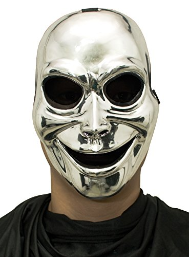 Sinister Mask Ghost (UHC Men's Sinister Ghost Silver Hockey Style Creepy Party Halloween Costume)