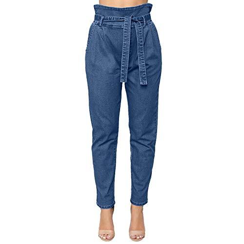 yijiamaoyiyouxia Women Casual Drawstring Cropped Jeans Loose Belt Bandage Elastic Denim Pants High Waist Pencil Trousers Blue