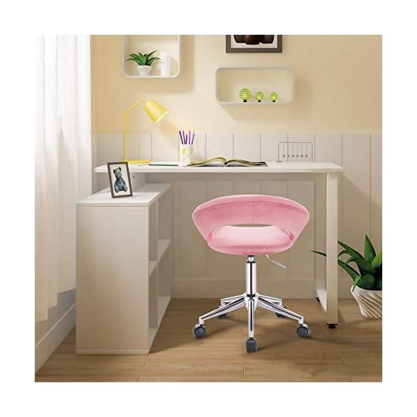 WOLTU BS100rs,1 Chaise de Bureau Tabouret Roulant avec Velours Assise,Tabouret de Travail Fauteuil de Bureau pivotant et…
