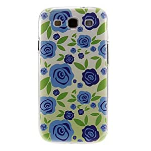 DUR Blue Rose Pattern Plastic Protective Hard Back Case Cover for Samsung Galaxy S3 I9300