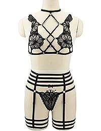 Harness Bra, G String Lace Thong, Stocking Garter Lingerie Suit Plus Size Adjustable (N0098)