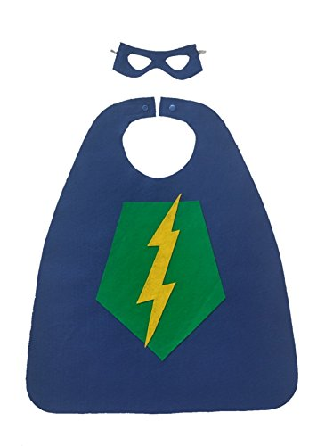 [Superhero Cape and Mask Set for Kids (shield/lightning bolt)] (Lightning Bolt Costumes)
