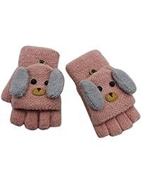 RARITY-US (2-6Y) Convertible Flip Top Gloves, Knit Winter Warm Fingerless Half Finger Mittens for Kids Boys Girls