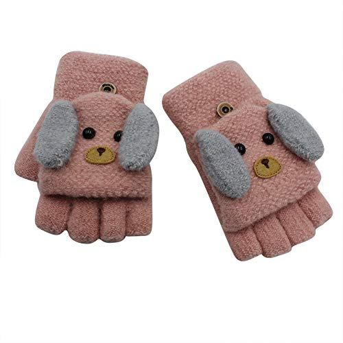 RARITY-US (2-6Y) Convertible Flip Top Gloves, Knit Winter Warm Fingerless Half Finger Mittens for Kids Boys Girls