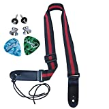 LOHANU Ukulele Strap 2 Buttons + 2 Picks + Red & Black + 2 Strap Pins Not Just 1...