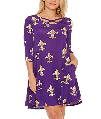 (RBBK Women's 3/4 Sleeve Wrinkle Free Jersey Style Swing Print Dress (Purple Fleur De Lis, Small) )