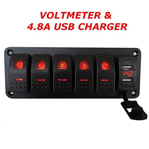 - Switchtec 5 Gang Rocker Switch Aluminum Panel with 4.8 Amps Dual USB Rocker Style Fast Charger with Voltmeter, Red Backlit Led, Pre-Wired for Marine, Boat, Car, Truck(4.8A USB & 5 SWITCHES RED)