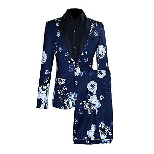 (Men's Slim 2-Piece Suit Full Dress Print Blazer Host Show Jacket Coat & Pant for Weddings Party Dinner Prom Banquet Blue)