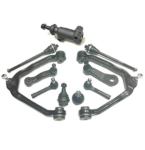 PartsW 11 Piece Suspension Kit For Cadillac GMC & Chevrolet SUVs & Trucks, Front Control Arms Inner and Outer Tie rod Ends Pitman Arm W/4 Grooves Idler Arms Ball Joints