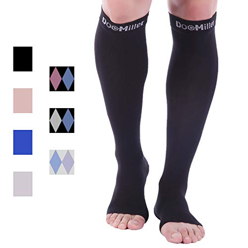 Doc Miller Open Toe Compression Socks 1 Pair 30-40mmHg Stockings (Black, Small)