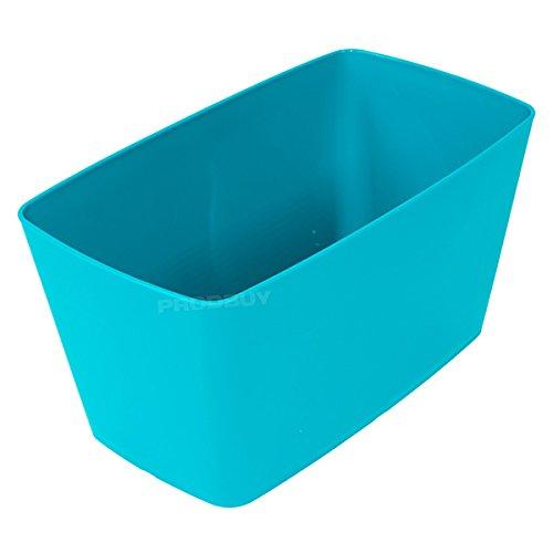 2 x TEAL BLUE Rectangular 30cm Plastic Plant Pot Cover Troughs