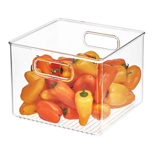 iDesign 71230 Plastic Bin, Kitchen Storage Organizer for Refrigerator, Freezer and Pantry, 8″ x 8″ x 6″, BPA-Free, Medium, Clear