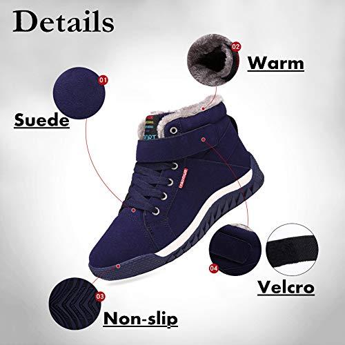 Invernali Invernali Invernali Boots Caviglia Stivali Piatto Piatto Piatto Pelliccia Neve SAGUARO® Allineato Uomo da Caloroso Blue Sportive Stivaletti Nuovo Scarpe IzwIOqpSx