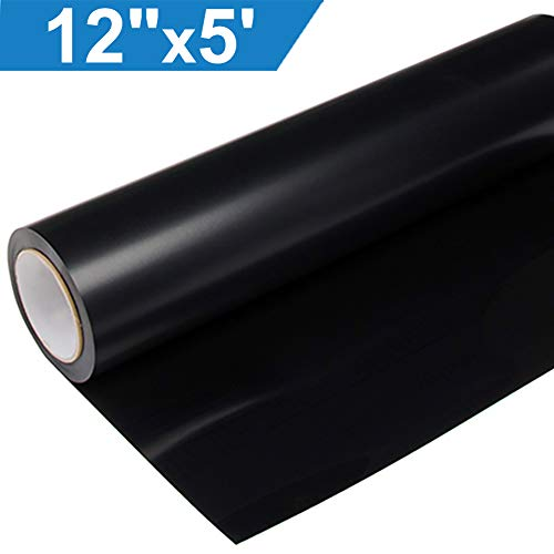 Heat Transfer Vinyl HTV for T-Shirts 12 Inches by 5 Feet Roll (Black)