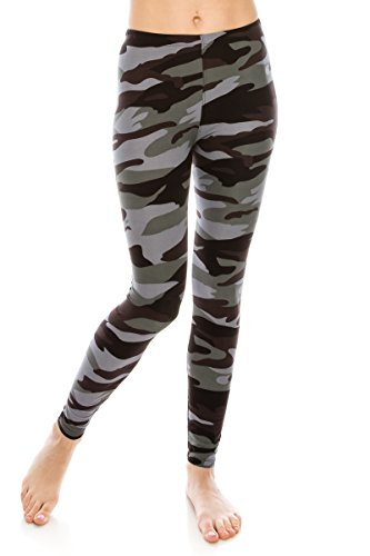 (ALWAYS Women Premium Camo Leggings - Buttery Soft Stretch Floral Military Army Print One Size)