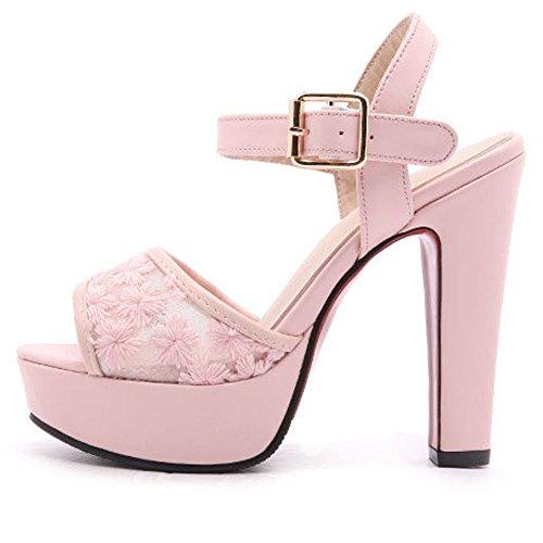 Xia Scarpe Casuale Toe Tacchi Rosa Donne Del Tele Piattaforma Cinghia Delle Caviglia Peep Alti Partito Merletto Pompe Della Della gHqIvv