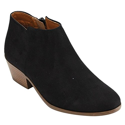 Soda Women's Western Inside Zipper Stacked Heel Ankle Booties Black Faux Suede 7.5