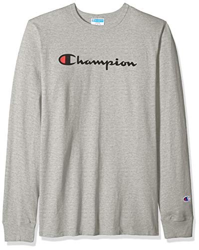 Champion LIFE Men's Heritage Long Sleeve Tee, Oxford Grey/Ink Graphic/Script, XX-Large