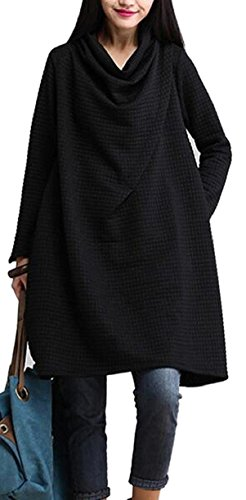Color Pure Black Dresses Jaycargogo Long Mini Women's Loose Pockets Sleeved wpEvqE