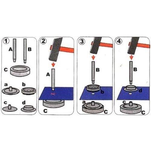 Tonos con herramientas Surtido 3059 Botones de presi/ón verschied Sport /& Camping 15/mm