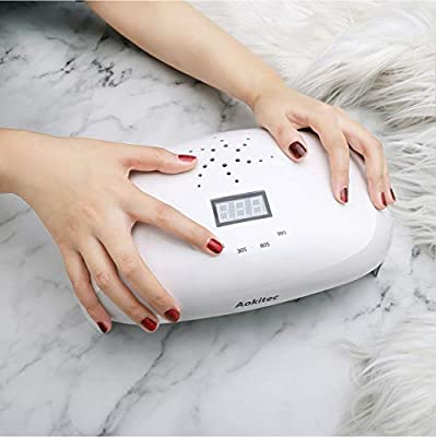 Aokitec UV LED Nail Lamp 78W Professional Nail Dryer for All Gels Fits Both Hands or Feet with 4 Timer, Sensor, LCD Display, 56 Beads Gel Curing Lamp