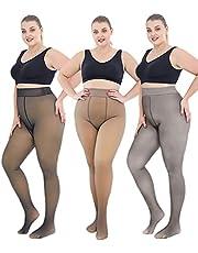 Warme Fleece Gevoerde Leggings voor Vrouwen, Plus Size Nep Doorschijnende Vlekkeloze Benen Panty Thermische Winter Panty Broek