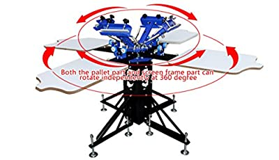 4 Color 4 Station Screen Printing Machine Screen & Platen Rotating Screen Printing Press