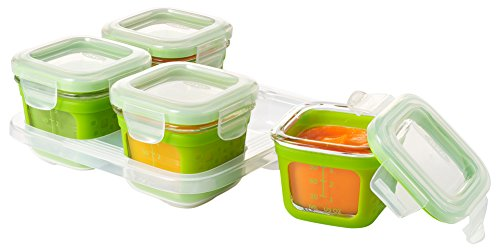 OXO Tot Glass Baby Blocks Food Storage Containers with Silicone Sleeves, Green, 4 oz