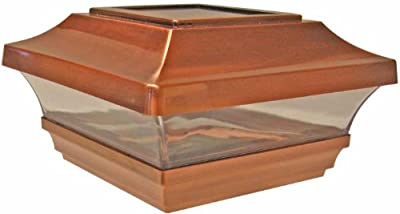 Woodway Solar Fence Post Cap 4 x 4 With Powerful LED Light With Wide Area Coverage Copper Outdoor Cap for Deck or Fence