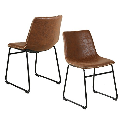 LSSBOUGHT Vintage Dining Chairs with PU Leather, Set of 2, Brown
