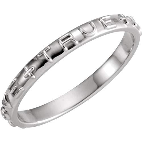 Bonyak Jewelry 14k White Gold True Love Chastity Ring - Size 5