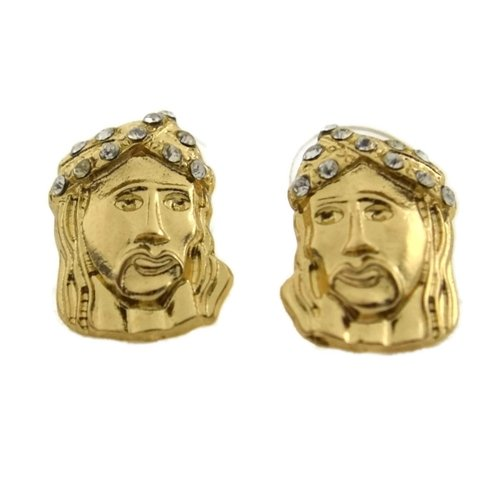 Jesus Christ Iced-Out Face Head Hip Hop Gold Tone Stud Bling Mens Fashion Earrings (Jesus Christ Head)