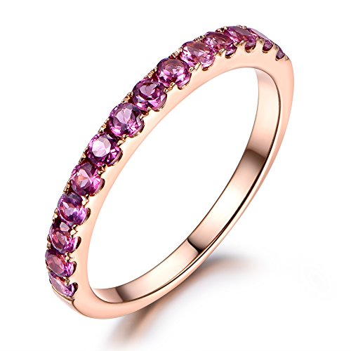 Stackable Pink Tourmaline Wedding Band,14K Rose Gold,Half Eternity,Engagement Stacking Ring,Anniversary
