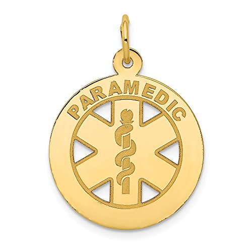 (14k Yellow Gold Medium Paramedic Medical Alert Pendant Charm Necklace Career Professional Fine Jewelry Gifts For Women For Her)