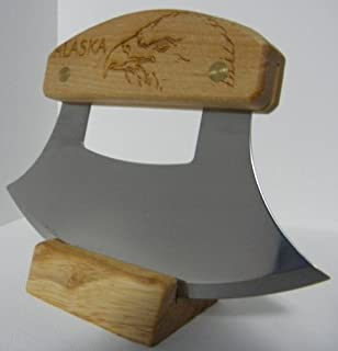 product image for Alaskan Inupiat Style Ulu with Eagle Etched Birchwood Handle, 6.25
