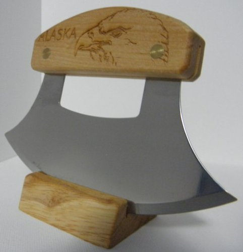 Alaskan Inupiat Style Ulu with Eagle Etched Birchwood Handle, 6.25'' Blade by The ULU Factory (Image #4)