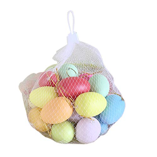 Easter Eggs Ornaments w/ Hanging Strings,Assorted Colors, Perfect for Easter Egg Hunt/Surprise Egg/Hand-painted Eggshell Decoration, DIY Egg Creative Painting Toys (Assorted Colors Egg - Shell Hand Painted