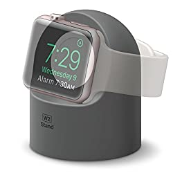 elago W2 Stand [Dark Gray] - [Supports Nightstand Mode][Cable Management][Scratch-Free Silicone] - for Apple Watch Series 1, 2, and 3