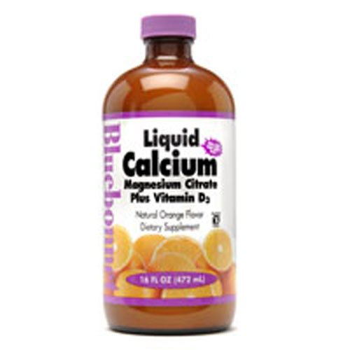Bluebonnet Liquid Calcium Magnesium Citrate, Orange, 16 Fluid Ounce (3 Bottles).