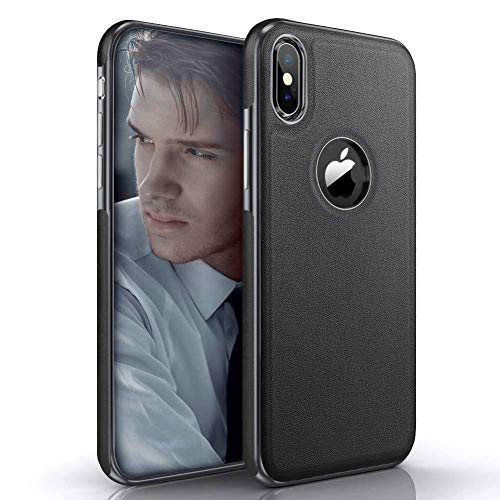 LOHASIC iPhone X Case, iPhone Xs Case Luxury Leather Slim Fit Soft Non-Slip Grip Flexible TPU Hybrid Bumper Shockproof Full Body Anti-Scratch Protective Cover Cases for Apple iPhone X 10 Xs (Black)