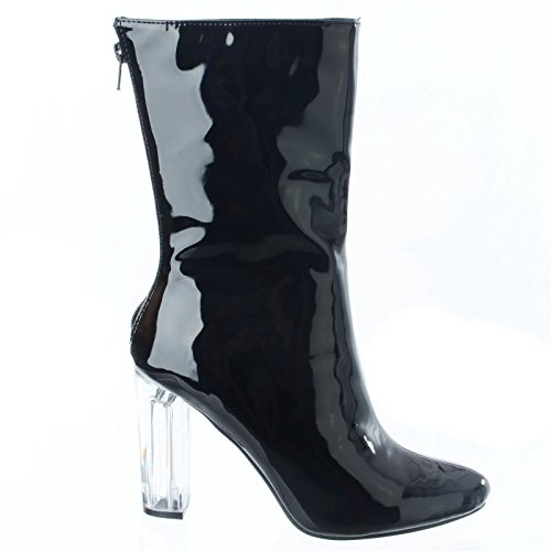 Casual CORE Ladies Size Fashion black Zip Perspex Party 8 3 COLLECTION Heel Womens up patent Boots Ankle HIGH Shoes New 71xq7wr